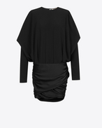 Draped Shoulder Mini Dress in Black Satin