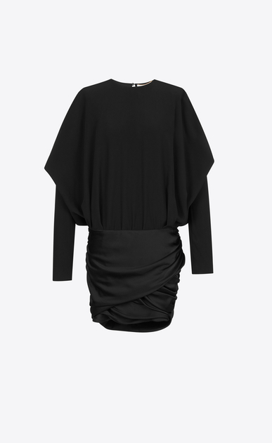 SAINT LAURENT Dresses Woman Draped Shoulder Mini Dress in Black Satin a_V4