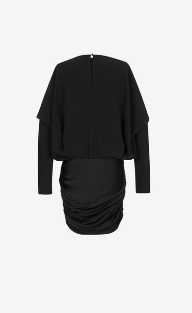 SAINT LAURENT Dresses D Draped Shoulder Mini Dress in Black Satin b_V4