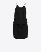 SAINT LAURENT Dresses D Tassel Mini Dress in Black Sablé f