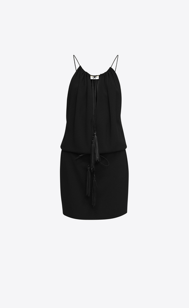 SAINT LAURENT Dresses D Tassel Mini Dress in Black Sablé a_V4