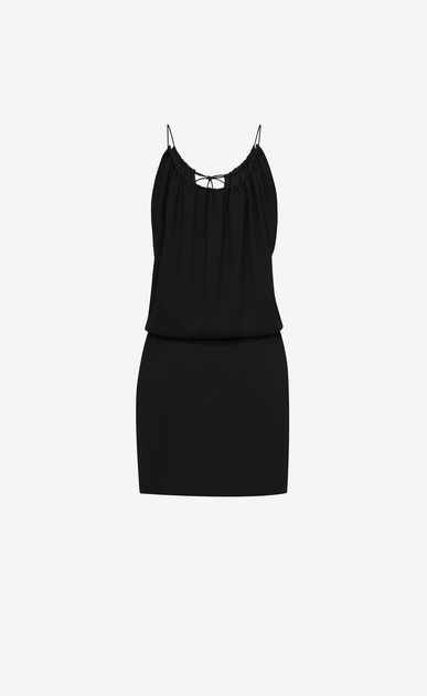 SAINT LAURENT Robes Femme Mini-robe à pompon en sablé noir b_V4