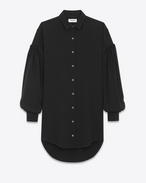 SAINT LAURENT Dresses D Drop Shoulder Shirtdress in Black Sablé f