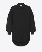 SAINT LAURENT Robes D Robe chemise à épaule tombante en sablé noir f