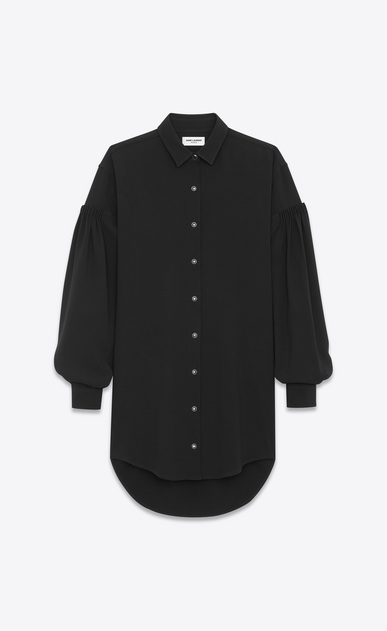 SAINT LAURENT Dresses Woman Drop Shoulder Shirtdress in Black Sablé a_V4