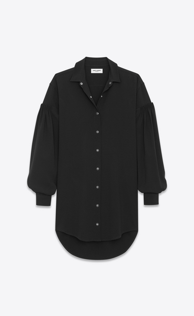 SAINT LAURENT Dresses D Drop Shoulder Shirtdress in Black Sablé b_V4