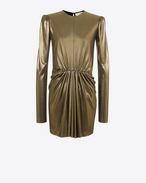 SAINT LAURENT Kleider D Gathered Waist Long Sleeve Mini Dress in Gold Metallic Jersey f