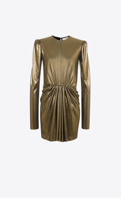 SAINT LAURENT Dresses D Gathered Waist Long Sleeve Mini Dress in Gold Metallic Jersey a_V4