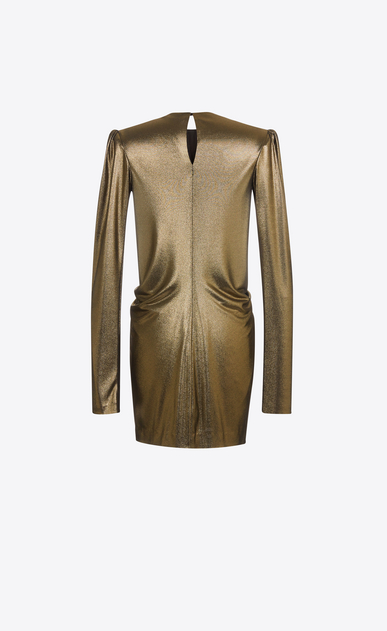 SAINT LAURENT Dresses Woman Gathered Waist Long Sleeve Mini Dress in Gold Metallic Jersey b_V4