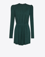 SAINT LAURENT Dresses D Gathered Waist Long Sleeve Mini Dress in Emerald Green Suede f