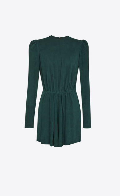SAINT LAURENT Dresses D Gathered Waist Long Sleeve Mini Dress in Emerald Green Suede a_V4