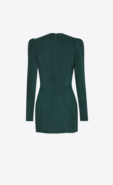 SAINT LAURENT Dresses D Gathered Waist Long Sleeve Mini Dress in Emerald Green Suede b_V4