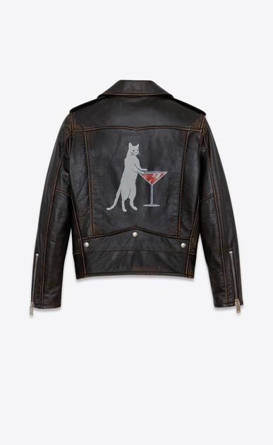SAINT LAURENT Leather jacket Woman Classic Cat Motorcycle Jacket in Black Vintage Leather a_V4