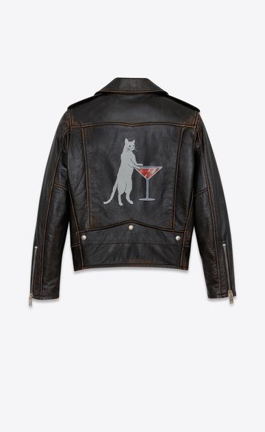 SAINT LAURENT Leather jacket D Classic Cat Motorcycle Jacket in Black Vintage Leather v4