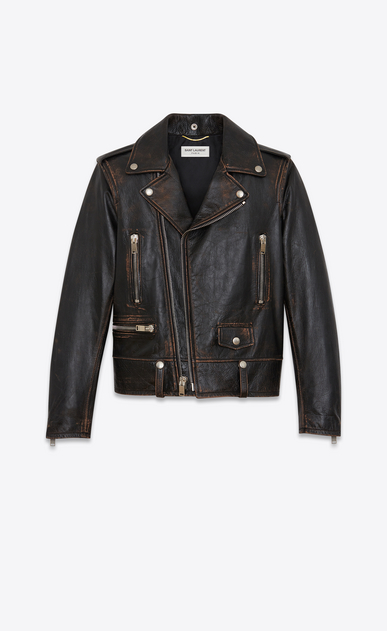 SAINT LAURENT Leather jacket Woman Classic Cat Motorcycle Jacket in Black Vintage Leather b_V4
