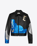 "SAINT LAURENT Leather jacket D ""LOVE"" Jacket in Black Leather and Blue and Silver Python Skin Lamé f"