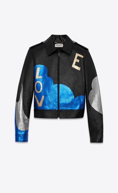 "SAINT LAURENT Leather jacket D ""LOVE"" Jacket in Black Leather and Blue and Silver Python Skin Lamé a_V4"