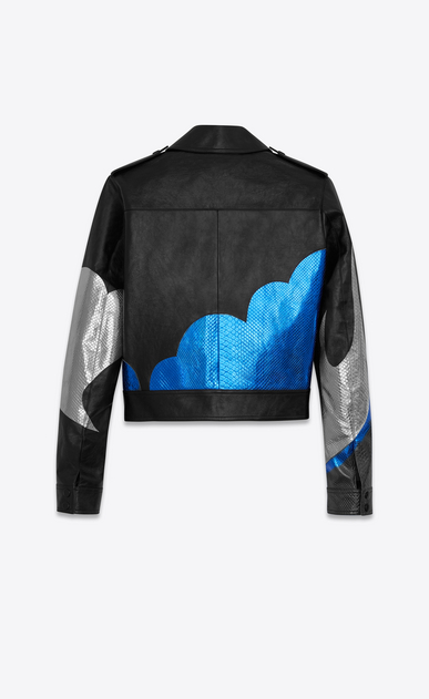 "SAINT LAURENT Leather jacket D ""LOVE"" Jacket in Black Leather and Blue and Silver Python Skin Lamé b_V4"
