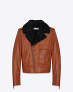 SAINT LAURENT Leather jacket D Motorcycle Jacket in Cognac Leather and Black Shearling f