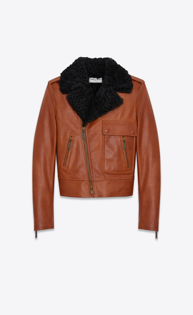 SAINT LAURENT Leather jacket D Motorcycle Jacket in Cognac Leather and Black Shearling a_V4