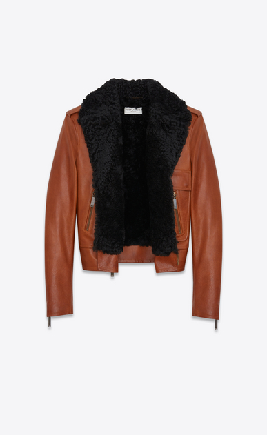 SAINT LAURENT Leather jacket D Motorcycle Jacket in Cognac Leather and Black Shearling b_V4