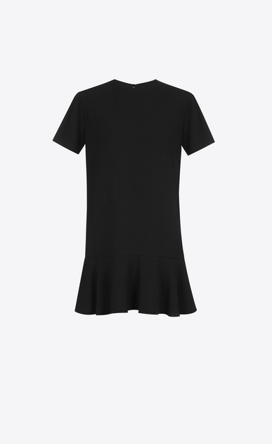 Short Sleeve mini dress in Black Sablé