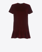 SAINT LAURENT Dresses D Short Sleeve mini dress in Burgundy Velvet f