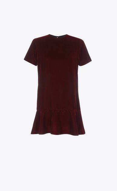 SAINT LAURENT Dresses D Short Sleeve mini dress in Burgundy Velvet a_V4