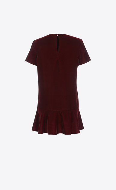 SAINT LAURENT Dresses D Short Sleeve mini dress in Burgundy Velvet b_V4