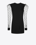 SAINT LAURENT Dresses D Long Sleeve Mini Dress in Black Sablé and Tulle f