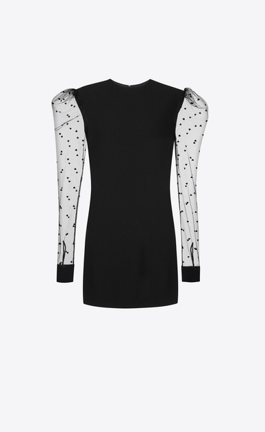 SAINT LAURENT Dresses D Long Sleeve Mini Dress in Black Sablé and Tulle a_V4