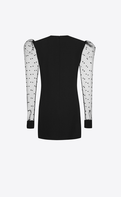 SAINT LAURENT Dresses D Long Sleeve Mini Dress in Black Sablé and Tulle b_V4