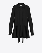 SAINT LAURENT Dresses D Lavaliere Mini Dress in Black Sablé f