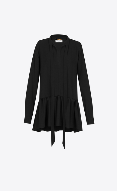 SAINT LAURENT Dresses D Lavaliere Mini Dress in Black Sablé a_V4