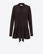 SAINT LAURENT Dresses D Lavaliere Mini Dress in Black and Red Micro Heart and Lightening Bolt Printed Silk Crêpe f
