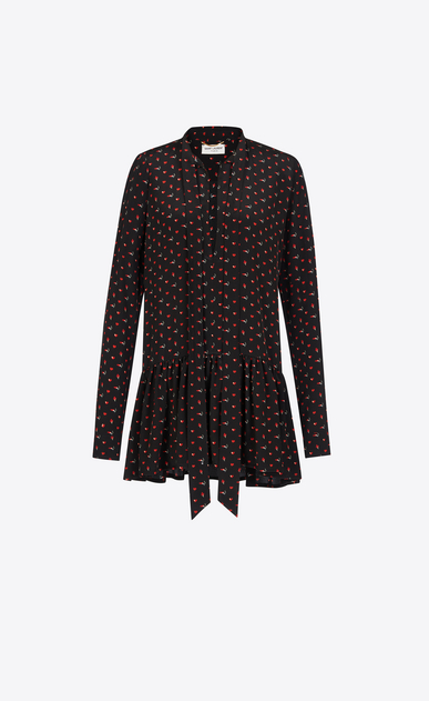SAINT LAURENT Dresses D Lavaliere Mini Dress in Black and Red Micro Heart and Lightening Bolt Printed Silk Crêpe a_V4