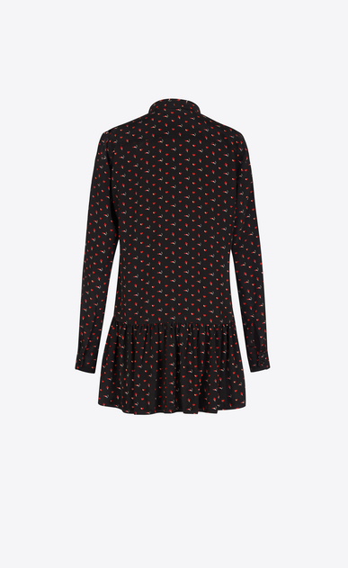 SAINT LAURENT Dresses Woman Lavaliere Mini Dress in Black and Red Micro Heart and Lightening Bolt Printed Silk Crêpe b_V4