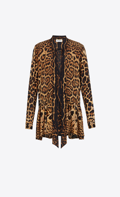SAINT LAURENT Dresses Woman Lavaliere Mini Dress in Wildcat Printed Silk Crêpe a_V4