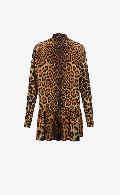 SAINT LAURENT Dresses Woman Lavaliere Mini Dress in Wildcat Printed Silk Crêpe b_V4