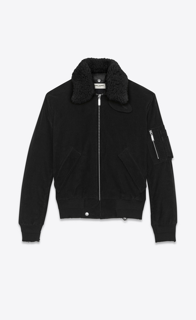 SAINT LAURENT Casual Jackets D Classic Bomber Jacket in Black Corduroy and Natural Shearling a_V4