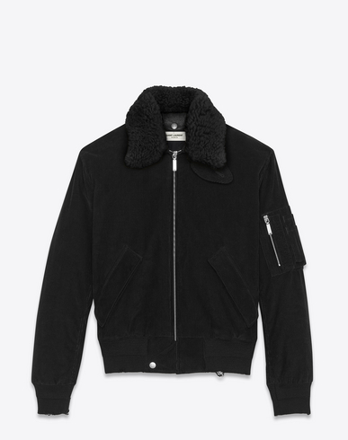 CLASSIC BOMBER JACKET IN BLACK CORDUROY AND NATURAL SHEARLING