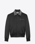 "SAINT LAURENT Casual Jackets D ""JE T'AIME"" TEDDY Jacket in Black Satin and Clear Crystal f"