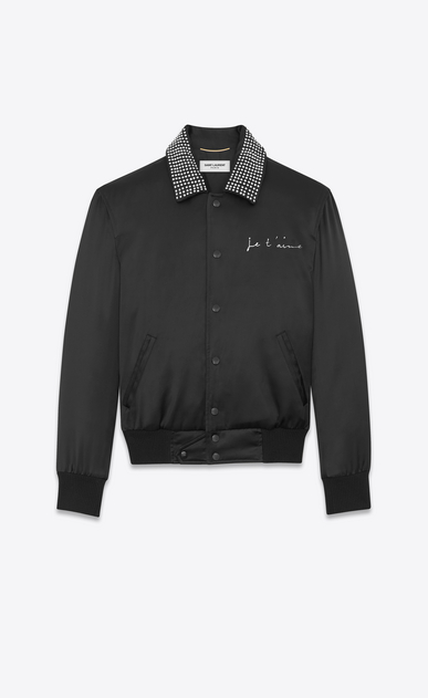 "SAINT LAURENT Casual Jackets D ""JE T'AIME"" TEDDY Jacket in Black Satin and Clear Crystal a_V4"