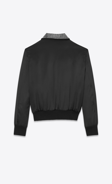 "SAINT LAURENT Casual Jackets D ""JE T'AIME"" TEDDY Jacket in Black Satin and Clear Crystal b_V4"