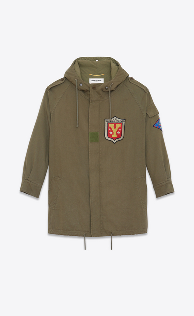 SAINT LAURENT Giacche Casual D Parka military kaki in twill di cotone a_V4