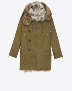SAINT LAURENT Coats D Oversized Parka in Khaki Cotton Gabardine and Multicolor Fur f