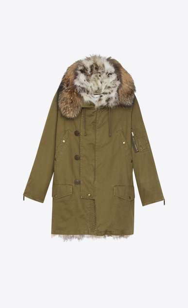 SAINT LAURENT Coats D Oversized Parka in Khaki Cotton Gabardine and Multicolor Fur a_V4