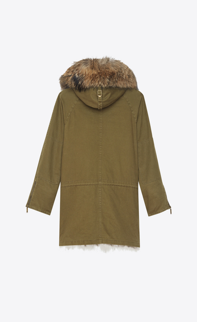 SAINT LAURENT Coats D Oversized Parka in Khaki Cotton Gabardine and Multicolor Fur b_V4