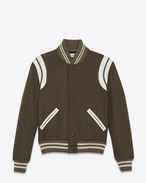 SAINT LAURENT Casual Jackets U Classic Teddy Jacket in Khaki Wool f