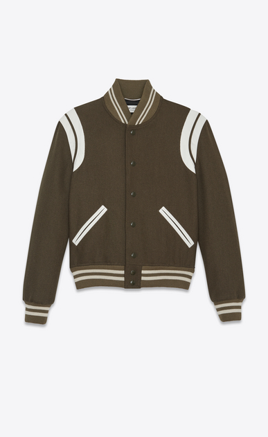 SAINT LAURENT Casual Jackets U Classic Teddy Jacket in Khaki Wool v4